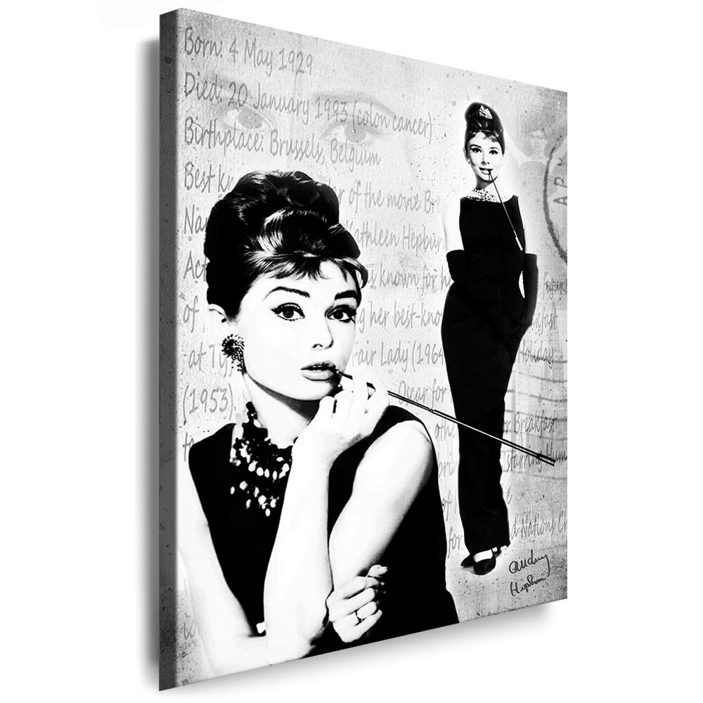 bild leinwand audrey hepburn keilrahmen bilder kunstdrucke wandbilder k poster ebay. Black Bedroom Furniture Sets. Home Design Ideas