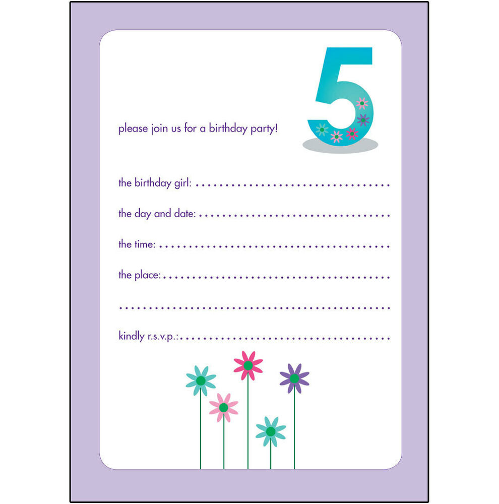 10 Childrens Birthday Party Invitations 7 Years Old Girl