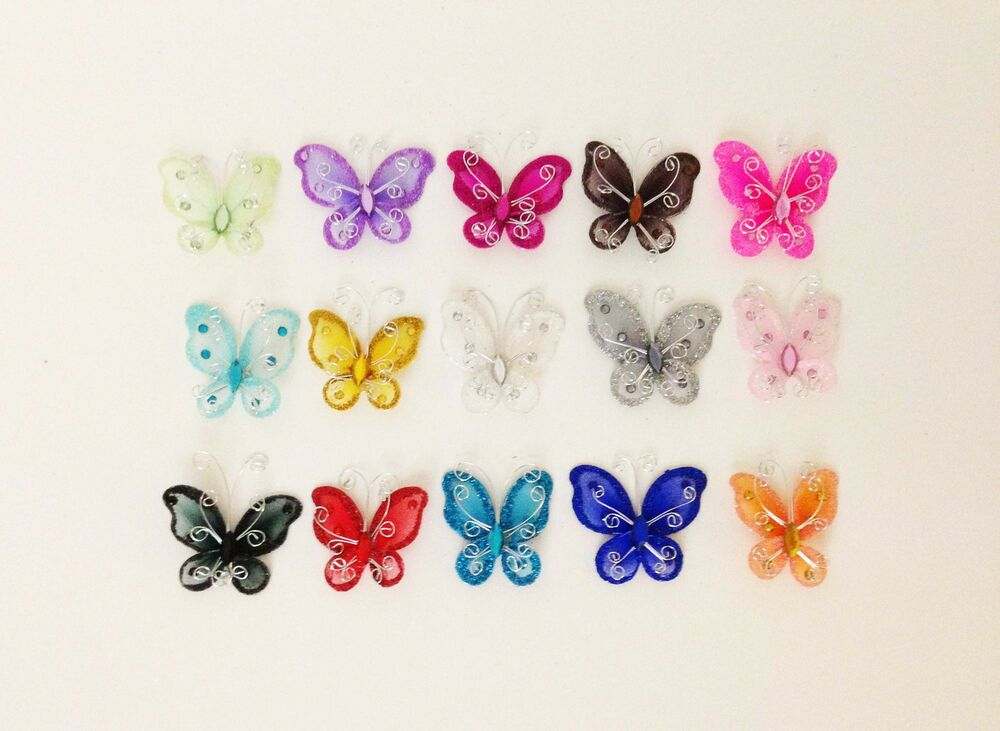12 x 2 organza butterfly craft wedding party decorations for Butterflies for crafts and decoration
