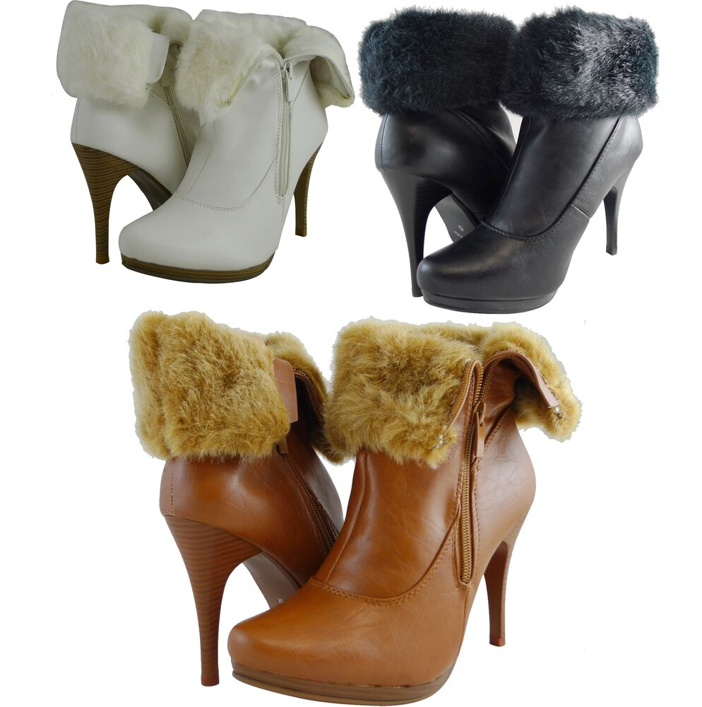 Women Boots Ankle High Fashion High Heels Sexy Fur Faux ...
