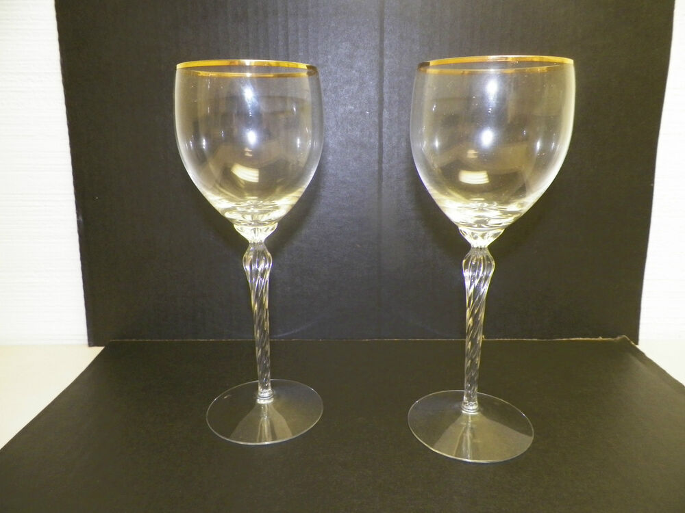 lenox crystal stemware gold rim wine glasses 8 1 2 tall. Black Bedroom Furniture Sets. Home Design Ideas