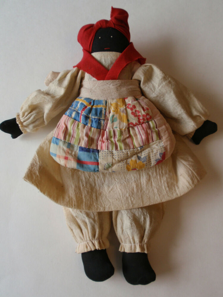 Vintage African American Cloth Rag Doll Primitive Quilted