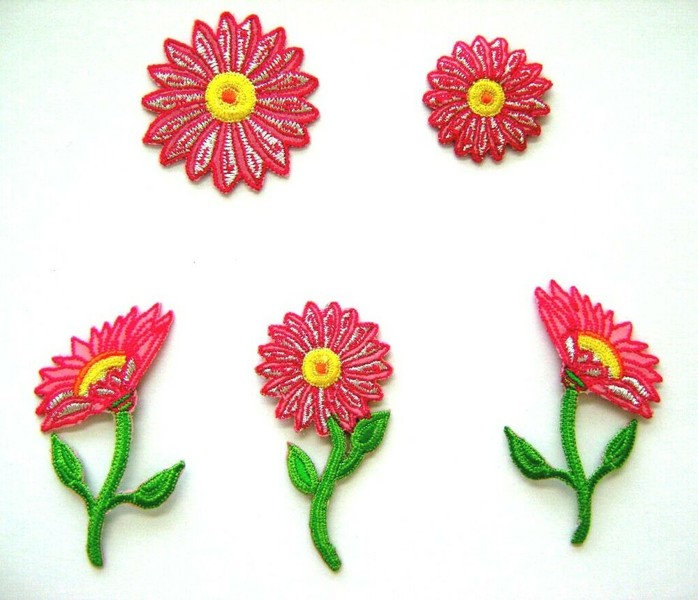 Flower pink daisy embroidered iron on applique patch