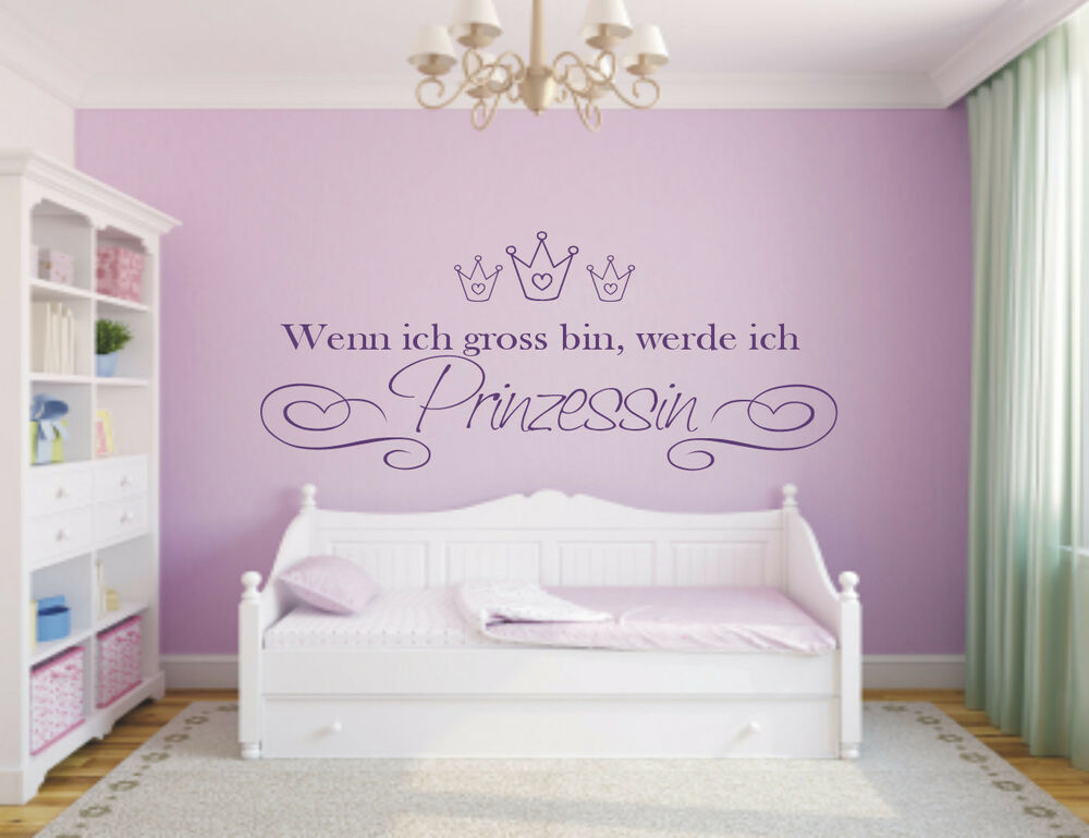 wandtattoo wenn ich gross bin prinzessin kinderzimmer herzen krone ebay. Black Bedroom Furniture Sets. Home Design Ideas