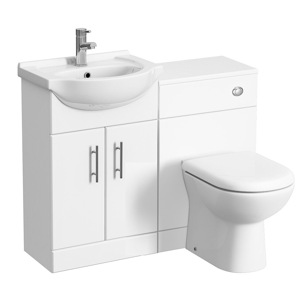 550 Bathroom Vanity Combination Unit Cloakroom Suite 500 Back To Wall Toilet Tap Ebay