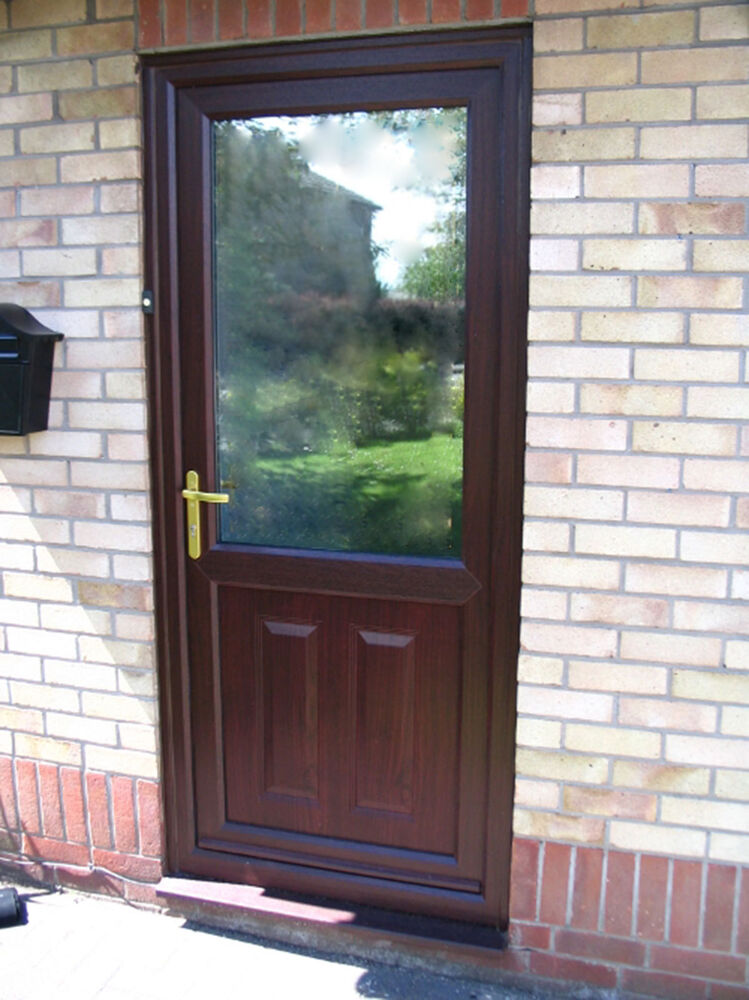 Brown upvc external door opens inwards half glazed ebay for Brown upvc door