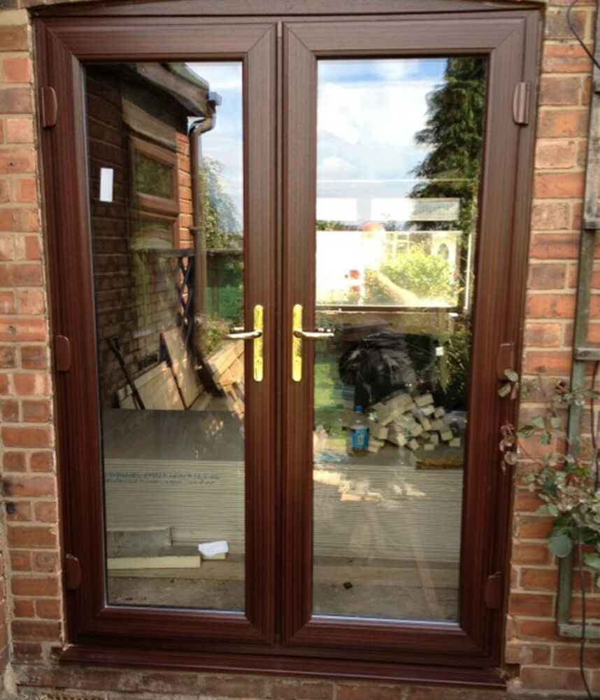 Brown upvc french doors made to measure not flat pack for Upvc french doors made to measure