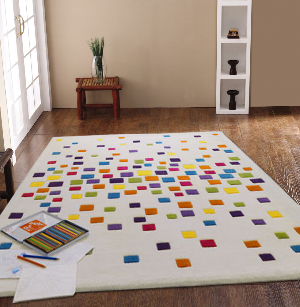 Small large thick modern ivory multi coloured bright for Designer floor rugs
