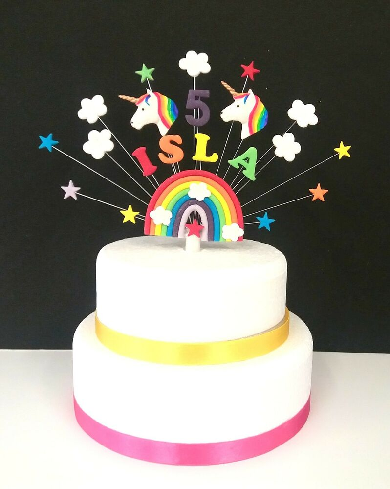 Any Name and age Rainbow, Star and UNICORN Birthday or ...