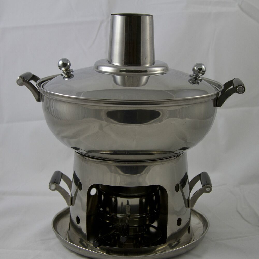 22CM Stainless Steel Mongolian Hot Pot With Alcohol Burner ...