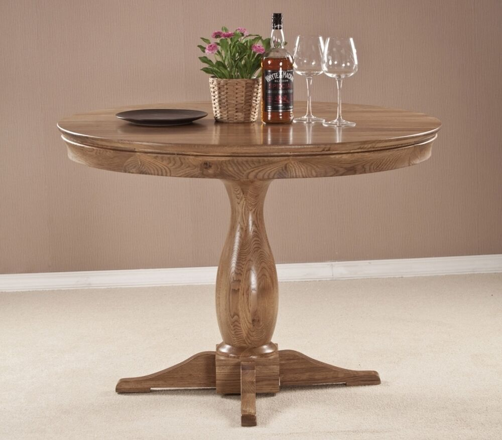Marseille solid french oak dining room furniture round for Oak dining room table