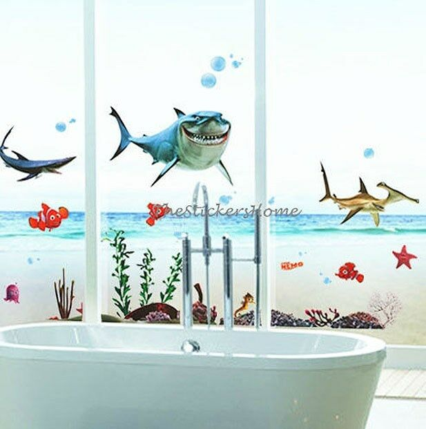 Disney finding nemo sharks fish wall stickers bathroom for Bathroom fish decor