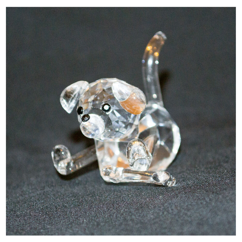 Crystal clear laying dog with bone miniature ornament for Dog bone ornaments craft
