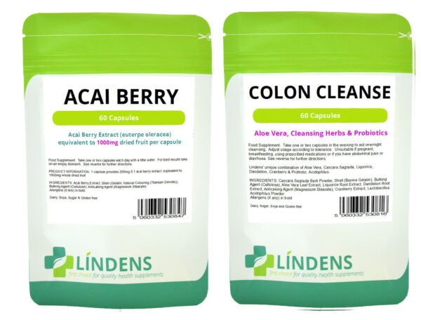 60 Acai Berry Extract Extreme 60 Colon Cleanse Detox Combo Slimming Dieting