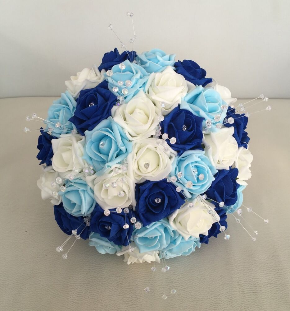 royal blue wedding flowers bouquet 2 artificial flowers royal blue ivory light blue foam 7164