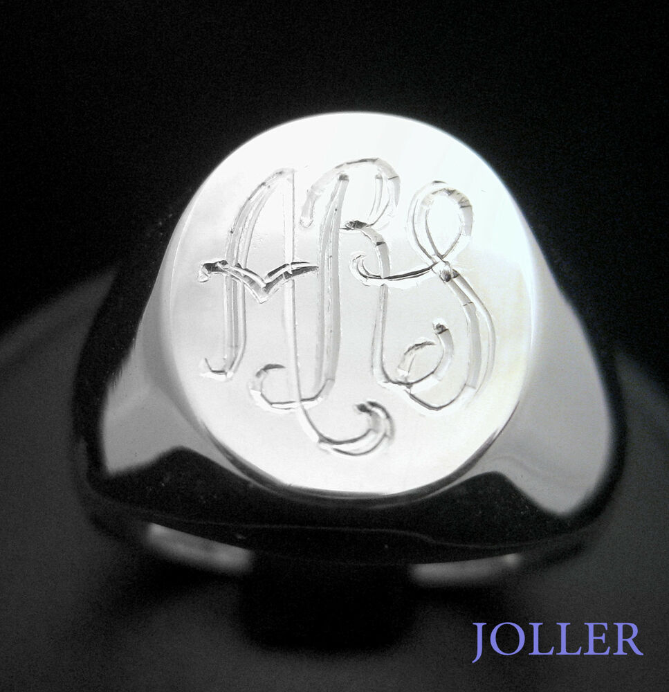 CUSTOM MADE SIGNET RING STERLING SILVER HAND ENGRAVED BY
