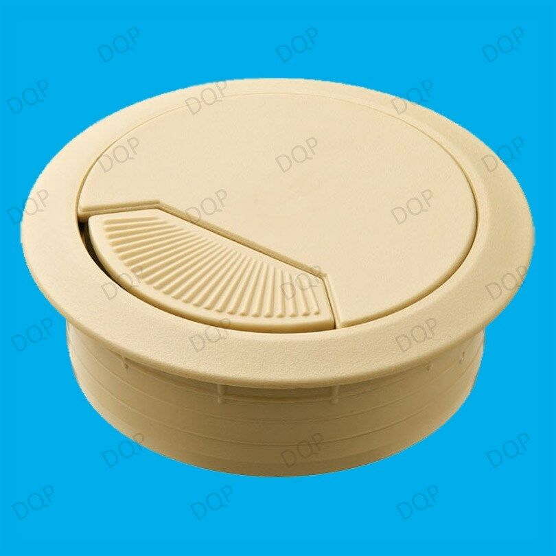 10x 60mm beige pc computer desk plastic grommet table cable tidy wire hole cover ebay. Black Bedroom Furniture Sets. Home Design Ideas