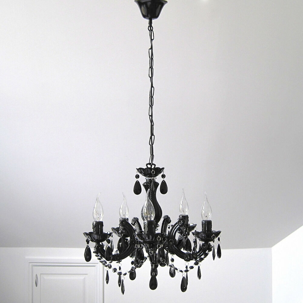 black chandelier vintage marie therese glass amp crystal 5 arm light lamp new gift ebay black chandelier lighting photo 5