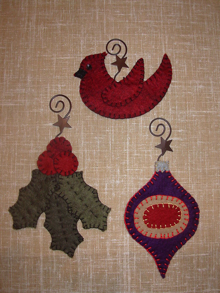 Penny Rug 3 Christmas Ornaments Pattern Set 2 For Wool