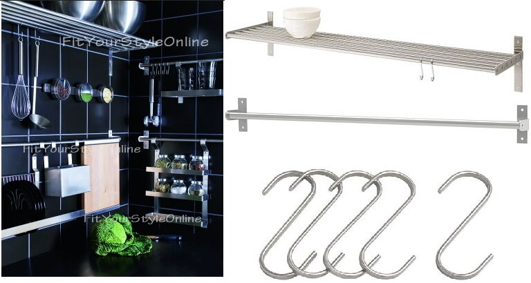 Grundtal Ikea Kitchen Shelf ~ IKEA shelf rail hook 31  kitchen organizer set stainless steel holder