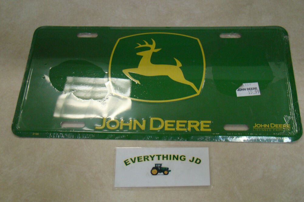 John Deere Plates : John deere metal license plate green yellow jd ebay