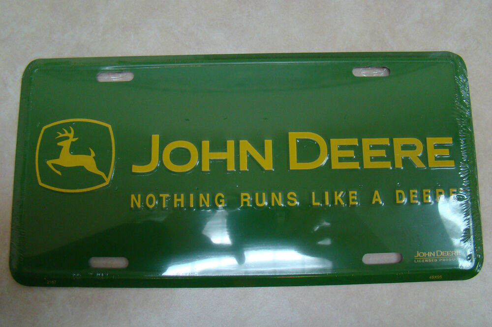 John Deere Plates : John deere metal nrld license plate green yellow