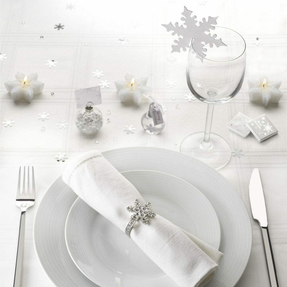 shimmering snowflake place cards bubbles for christmas wedding table decoration ebay. Black Bedroom Furniture Sets. Home Design Ideas