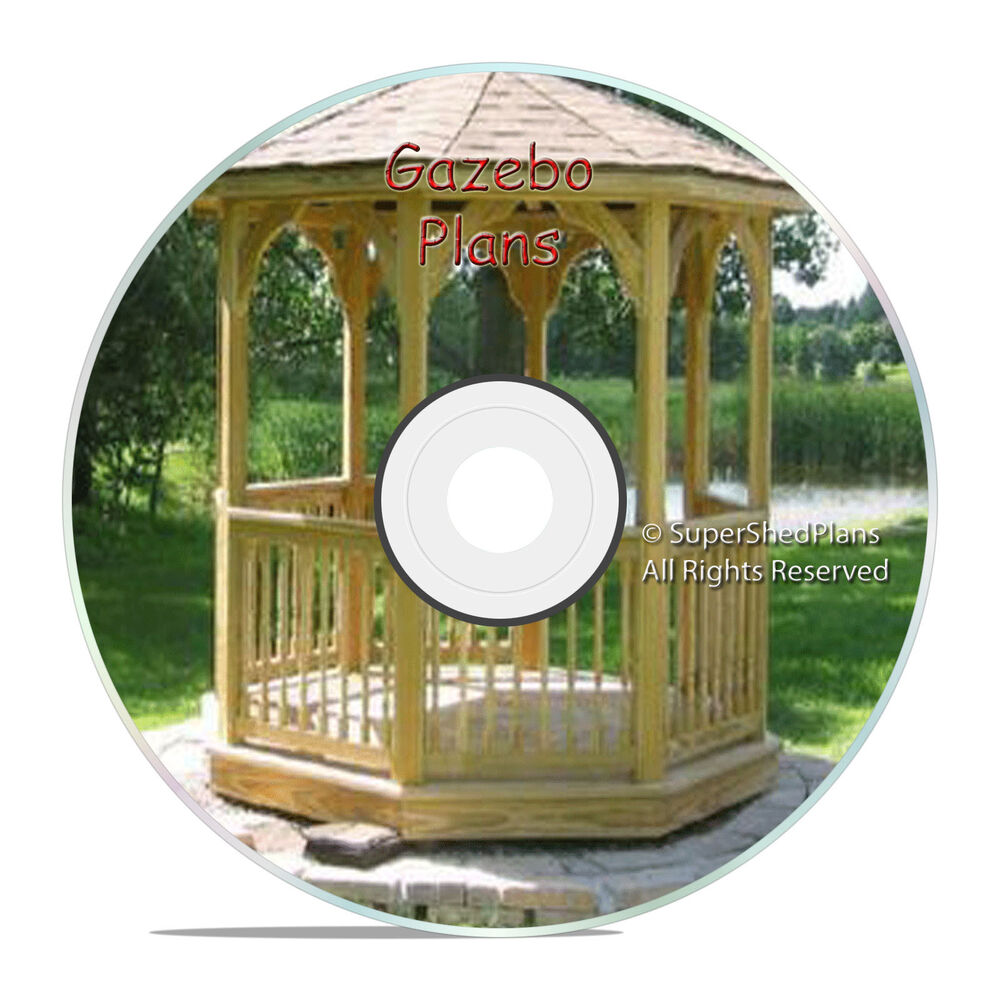 Custom design gazebo plans 8ft octagon plans diy blueprints backyard projects ebay - Build rectangular gazebo guide models ...