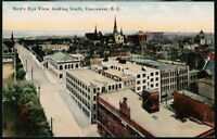 VANCOUVER BC CANADA Vtg Bird's Eye Rooftop Town View Looking South Postcard Old