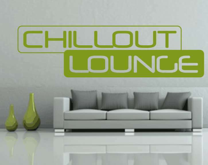 chillout lounge wandtattoo ber ihrem sofa couch wandaufkleber k che wohnzimmer ebay. Black Bedroom Furniture Sets. Home Design Ideas