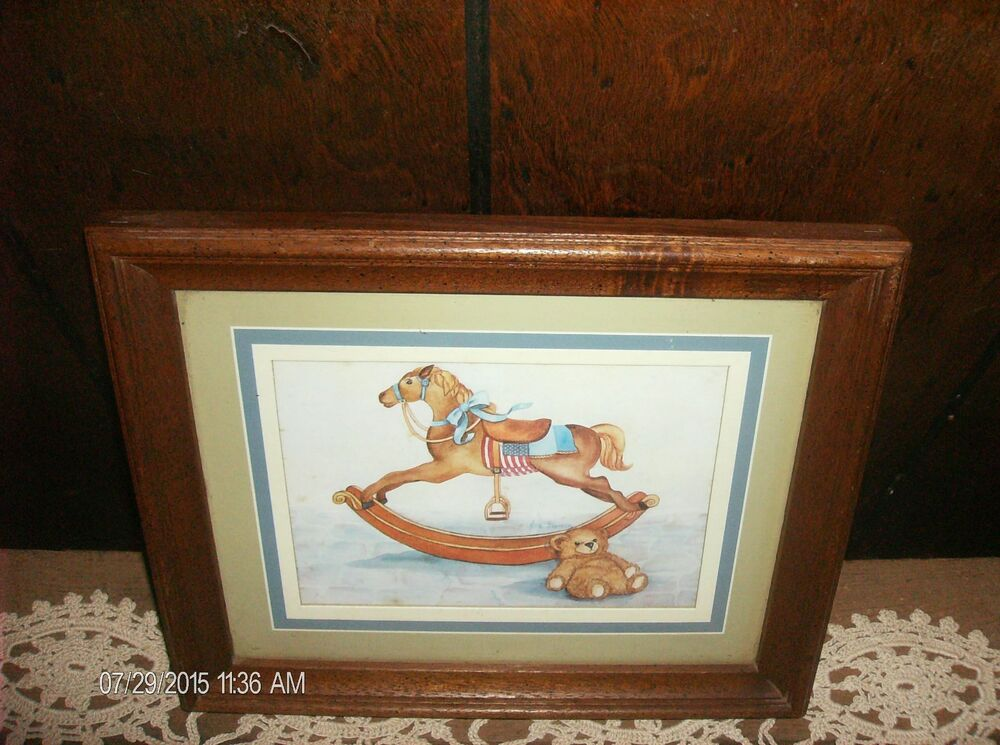 Vintage Picture Rocking Horse Teddy Bear Wood Frame Home