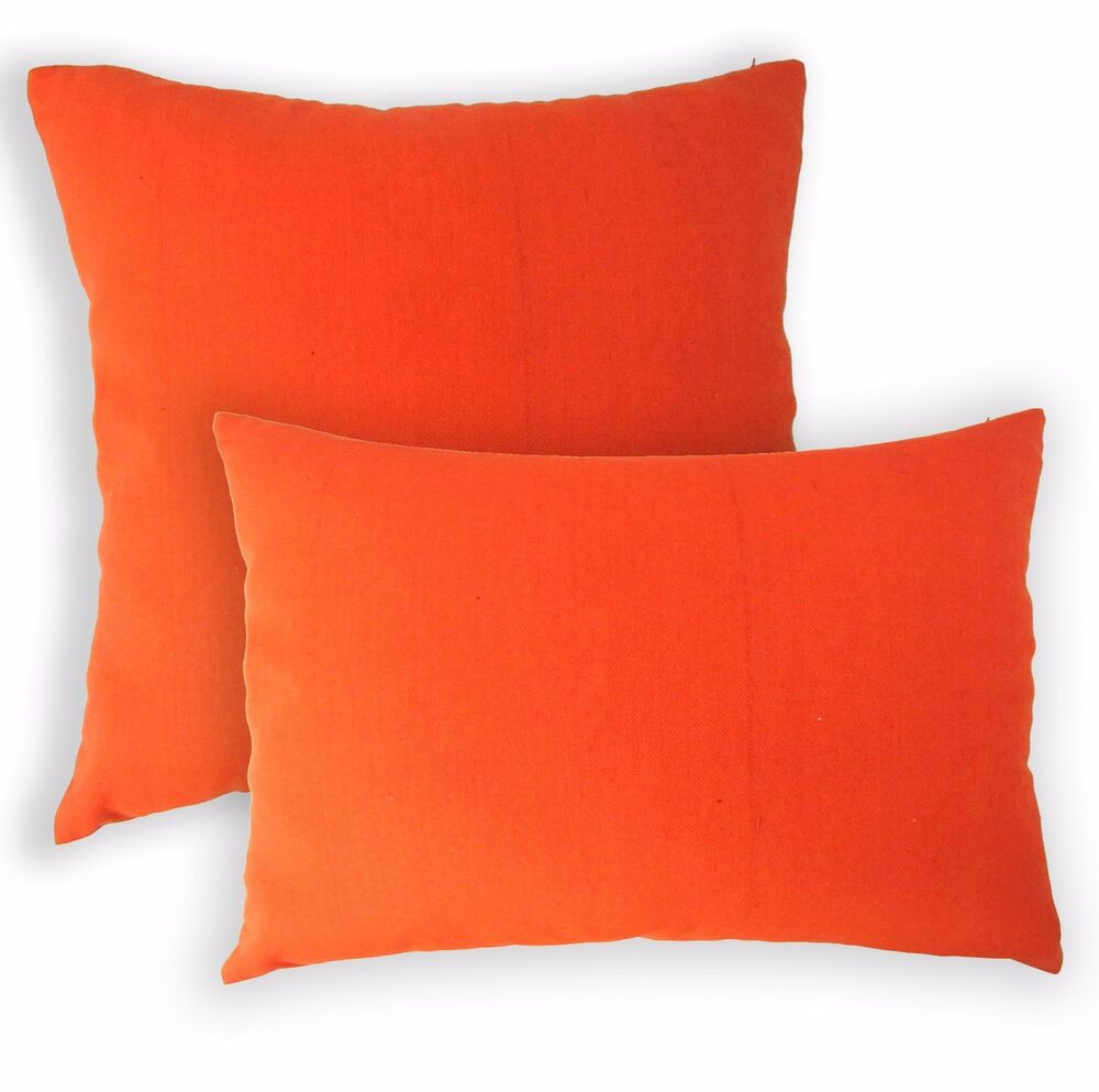 Aa135a Plain Solid Orange Cotton Canvas Cushion Cover