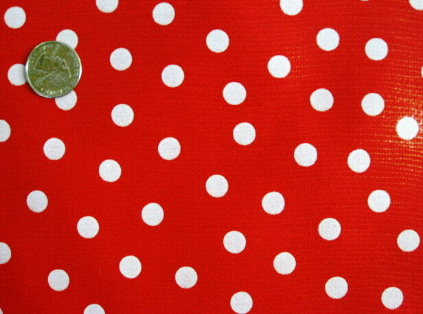 Red White Polka Dot Minnie Mouse Holiday Dine Oilcloth