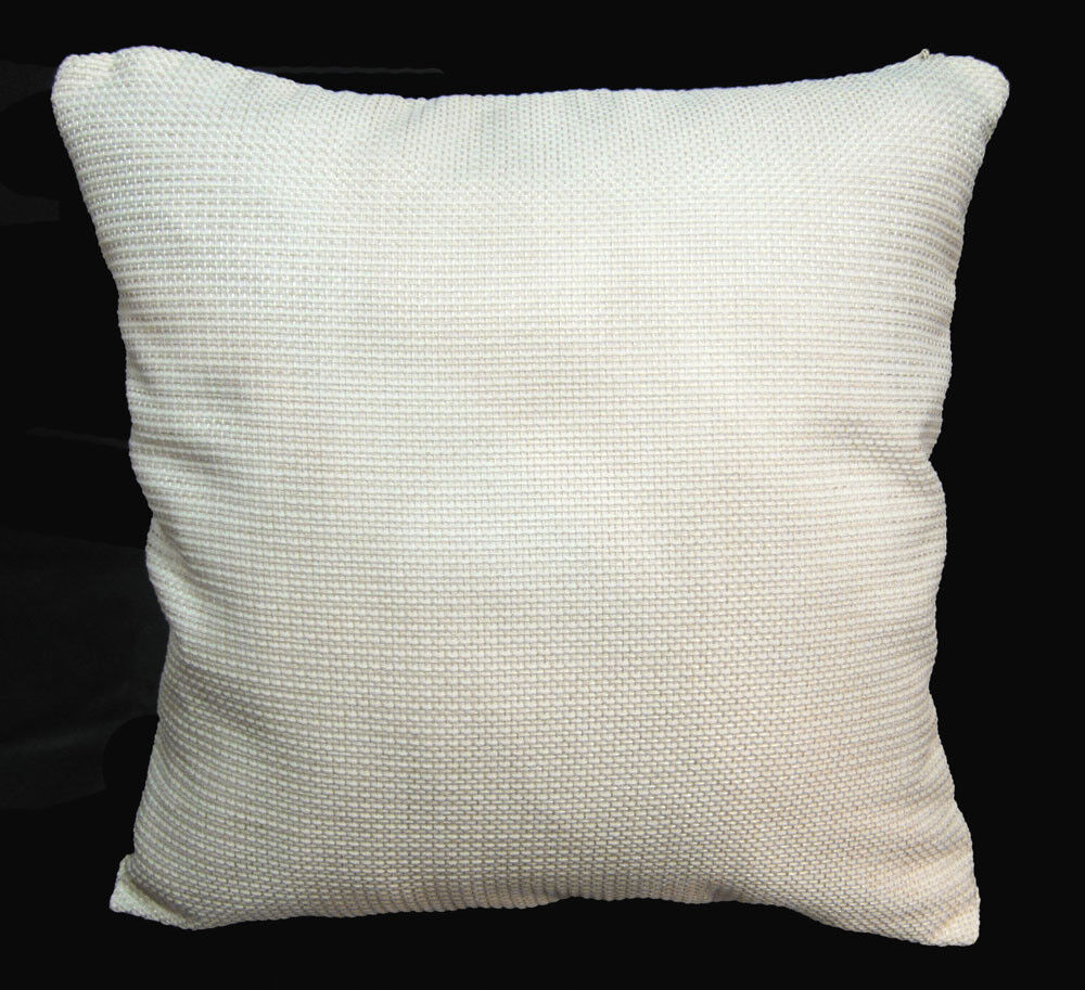 Qe01a Cream White Rough Cotton Blend Sofa Cushion Cover