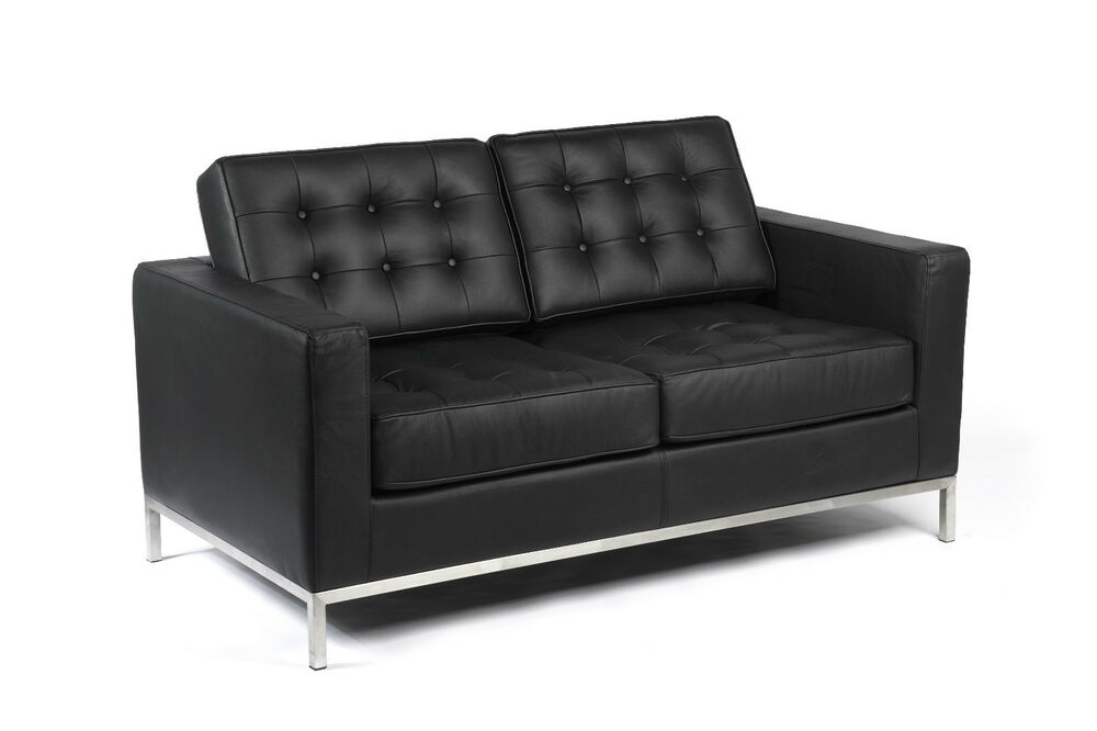florence knoll inspired 2 seater love seat sofa black leather white