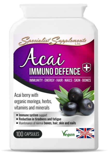 Acai Berry Immuno Defence 100 Capsules with Resveratrol Grape Seed & Pomegranate