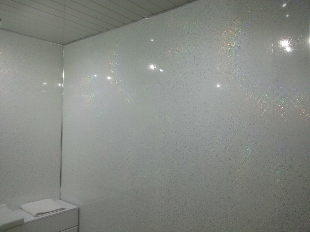 Wall Panels X 8 White Sparkle Effect PVC Plastic Wall Cladding Panels EBay