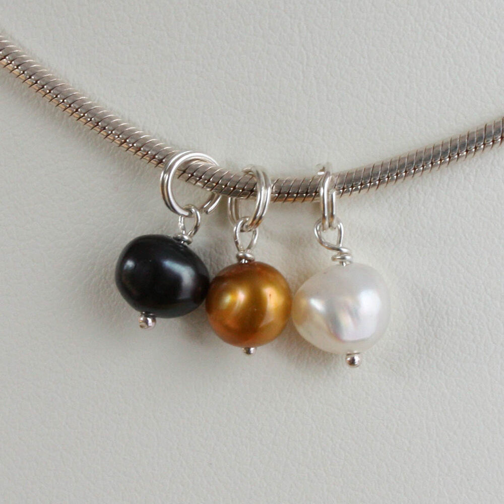 solid sterling 925 silver freshwater pearl charm pendant