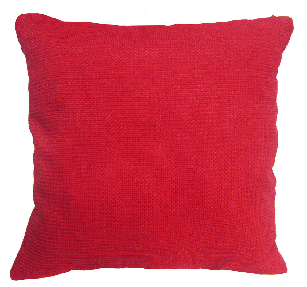 Qe07a Red Hot Red Rough Cotton Blend Sofa Cushion Cover