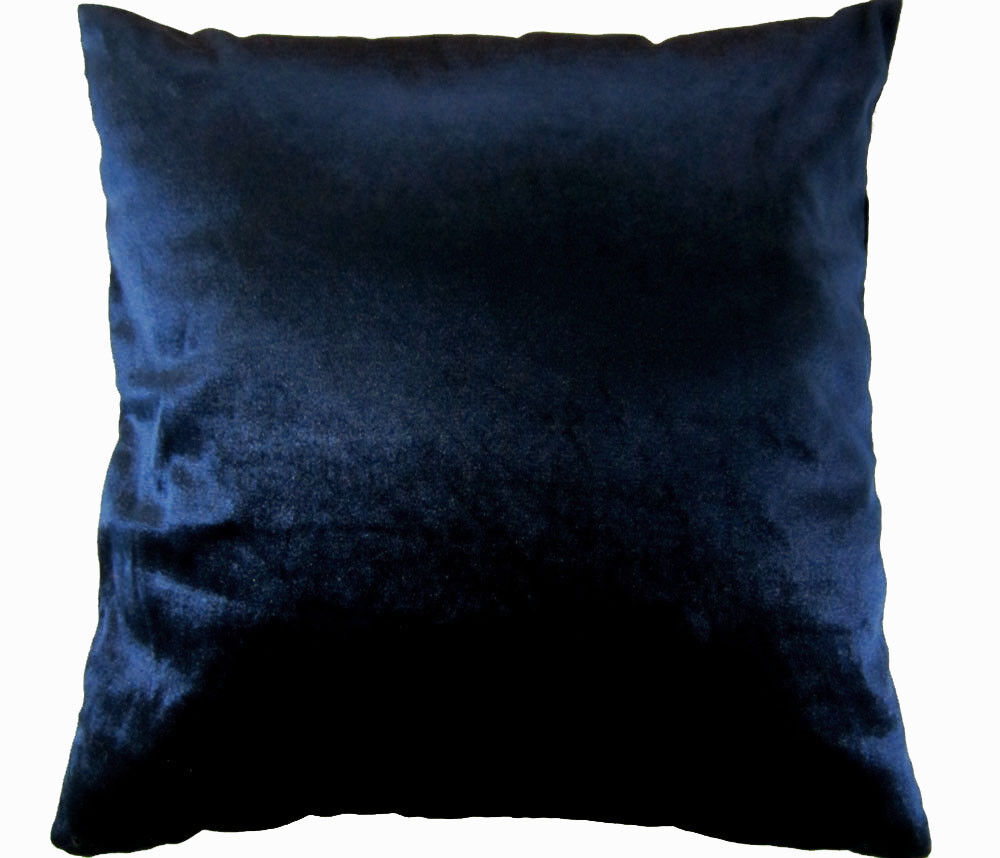 Mo89a Navy Blue Shimmer Velvet Style Cushion Cover Pillow