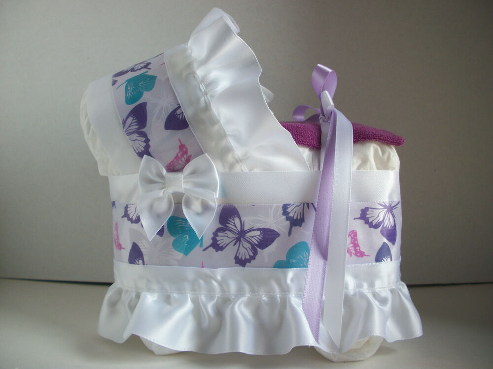 Beautiful butterfly girl diaper bassinet carriage baby for Baby shower diaper decoration