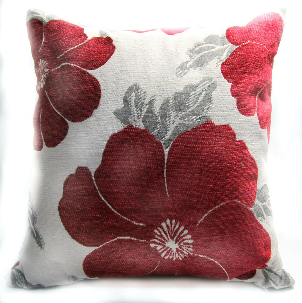 Wb10aa Red Daisy Flower Chenille Throw Cushion Cover