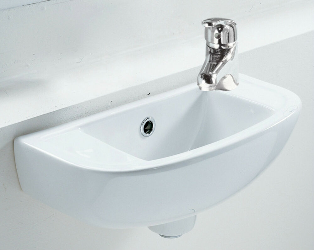 small square compact basin sink wall hung 450 x 210 right hand