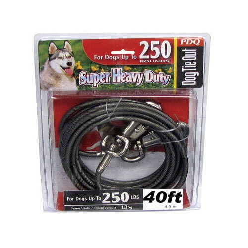 Pdq 40 Heavy Duty Cable Tie Out W Swivel Leash Hook Dogs