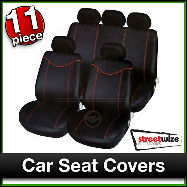 11 Piece Car Truck Seat Cover: STREETWIZE Car Seat Covers Set BLACK With RED Trim 11