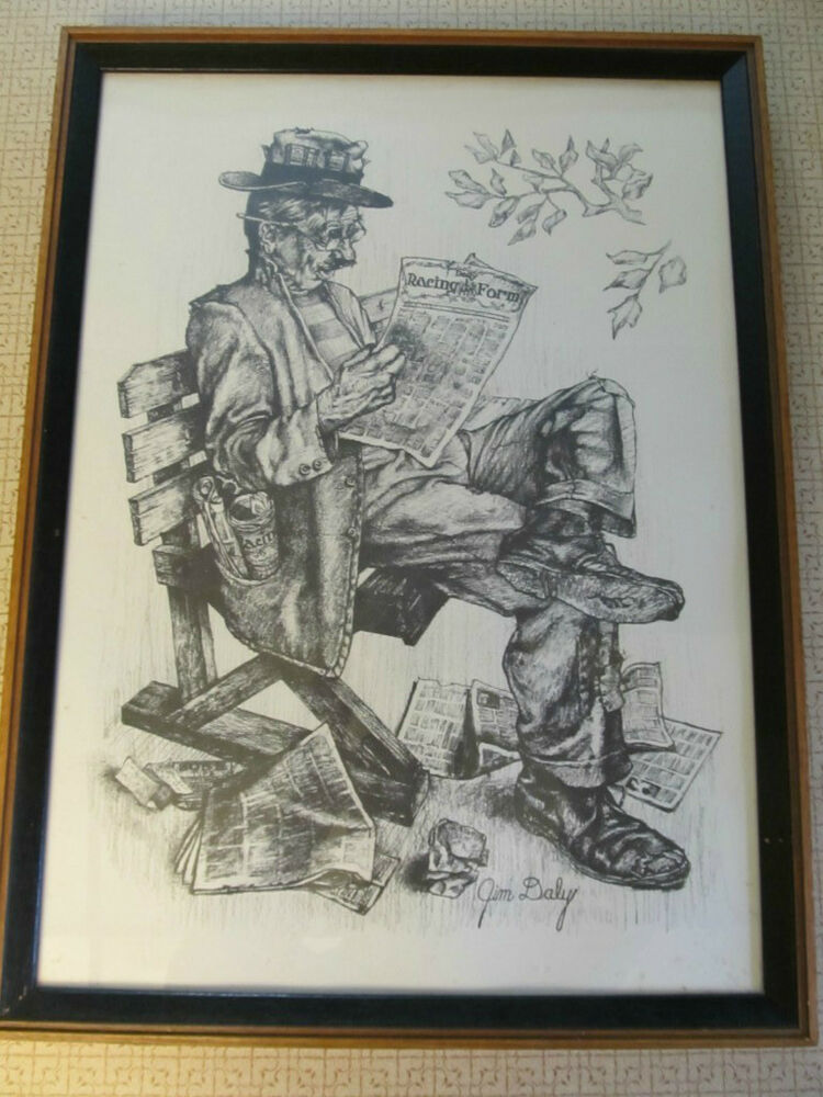 Jim Daly Print Quot Still Trying Quot Hobo With Racing Form