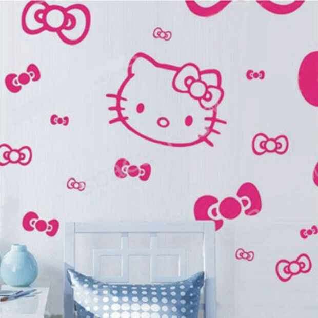 wandaufkleber wandtattoo wandsticker wallsticker kinderzimmer hello kitty kt029 ebay. Black Bedroom Furniture Sets. Home Design Ideas