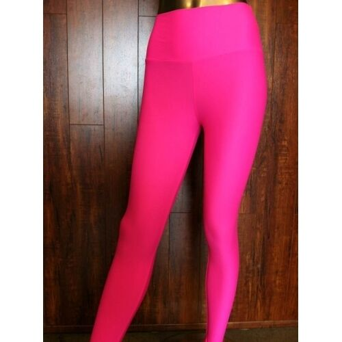 High Waist Neon Pink And Black Leggings Made In Usa Ebay