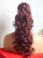 """Clip in Hair Pony Tail Hair Extension Pieces Curly Plum Red #99J - 19"""" KATE"""