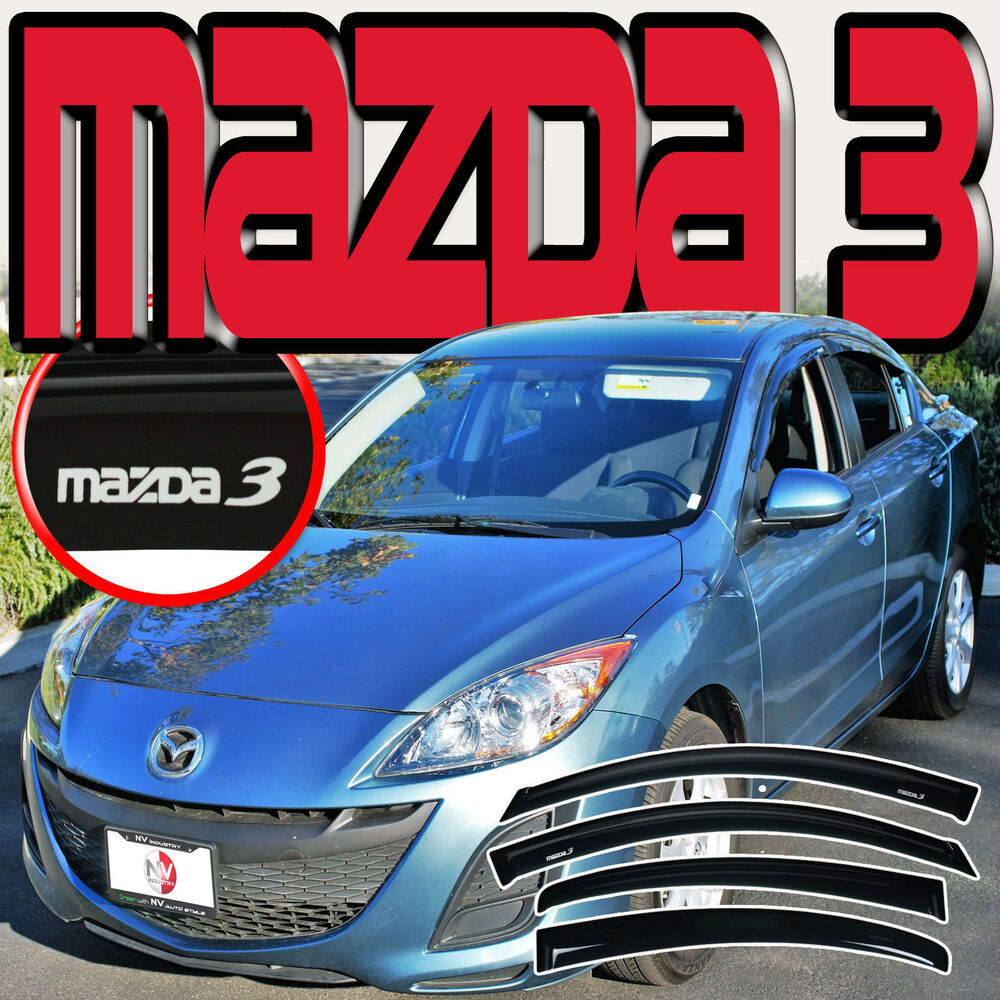 Mazda 3 Sedan 2010 2013 4 Door Window Deflectors Door Visors J Spec Logo Ebay